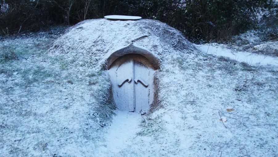 hutte de sudation en hiver